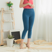 【中大尺碼】MIT珍珠造型牛仔九分褲