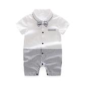 3-6個月滿月寶寶衣服夏裝百天嬰兒紳士服禮服