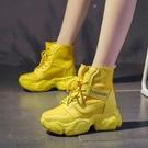 ins馬丁靴女短靴帆布厚底2021年新款春秋高跟鞋高幫內增高女鞋潮一米陽光