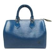 路易威登 LOUIS VUITTON LV 藍色EPI水波紋手提波士頓包 Speedy 25 M43015