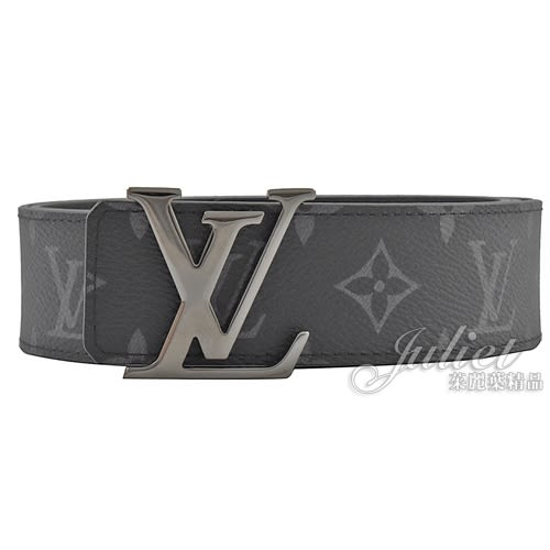 Louis Vuitton LV M9043T 經典花紋路易威登字母飾扣雙面皮帶.黑灰 95CM 全新 現貨【茱麗葉精品】