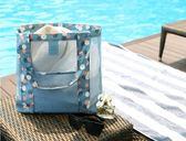 『蕾漫家』【H029】現貨-韓系戶外旅行收納袋 沙灘網袋單肩大容量沙灘包 多功能衣服收納包