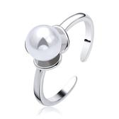 氣質女鍍銀戒指開口花朵仿珍珠指環 瑪瑙女王尾戒《小師妹》ps507