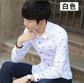 長袖襯衫-秋季新款男士長袖襯衫韓版修身潮青年休閒男裝印花薄款襯衣 現貨快出