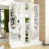 屏風隔斷客廳玄關柜現代時尚移動門廳裝飾柜鏤空雕花櫥窗背景 T