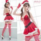 聖誕裙 繞頸綁帶洋裝 深V性感聖誕裝+聖...