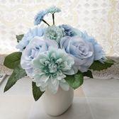 【春季上新】家居擺設室內客廳仿真花假花茶幾餐桌裝飾擺件大麗玫瑰花束小盆栽