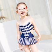 新款兒童泳衣女童中大童連體裙式可愛縫花女孩走秀溫泉游泳衣