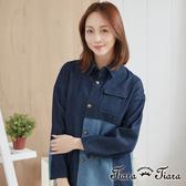 【Tiara Tiara】百貨同步aw 混色拼接牛仔外套(藍)