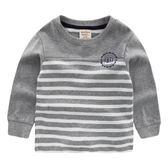 男童套頭條紋衛衣 秋裝秋新品兒童寶寶童裝灰色條紋潮U4109
