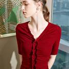 性感V領褶皺內搭T恤荷葉邊中袖上衣(四色S-2XL可選)/設計家 AL30336