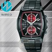 WIRED日本原創NEW STANDARD系列潮流計時腕錶-黑x紅/38mm/7T92-X134R/AF8P45X公司貨