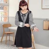 Poly Lulu 野餐格紋綁帶領假兩件洋裝-黑【92290120】