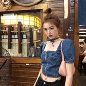 露臍短款牛仔襯衫設計感新款夏季女短袖泡泡袖小眾方領上衣潮 錢夫人小鋪
