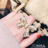 個性大蝴蝶結珍珠戒指 鑲水鑽夸張氣質開口可調節指環 女新年下殺