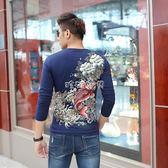 長袖T恤 秋冬新款男士中國風T恤長袖修身靚仔T恤棉透氣印花牡丹鯉魚3660 珍妮寶貝
