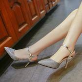 女尖頭亮片高跟鞋性感細跟后空淺口包頭一字扣涼鞋女