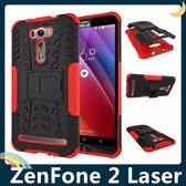 ASUS ZenFone 2 Laser 6吋 輪胎紋矽膠套 軟殼 全包帶支架 二合一組合款 保護套 手機套 手機殼