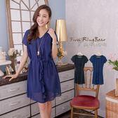 雪紡洋裝--氣質名媛款荷葉邊腰間綁帶雪紡連身裙(黑.藍XL-5L)-D312眼圈熊中大尺碼
