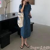短袖洋裝 短袖牛仔連身裙女夏寬鬆2021新款韓版慵懶風學生長款牛仔襯衫長裙  suger