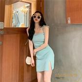 法式復古性感吊帶裙女春夏收腰修身顯瘦氣質短裙【繁星小鎮】
