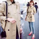 韓版女裝中長款學生卡其色小個子風衣春季薄外套女『潮流世家』