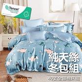 #YN49#奧地利100%TENCEL涼感40支純天絲6尺雙人加大全鋪棉床包兩用被套四件組(限宅配)專櫃等級