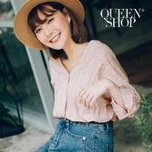 Queen Shop【01023059】V領單口袋棉麻條紋襯衫 兩色售*預購*