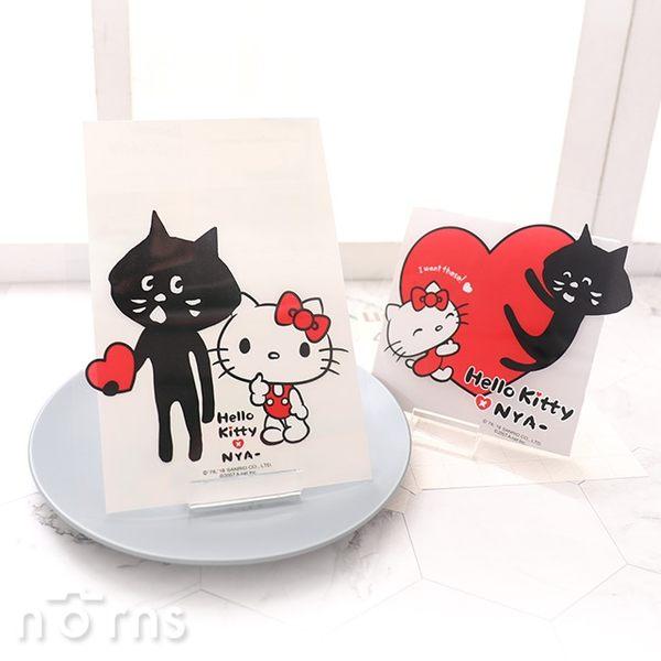 【Hello Kitty×NYA-貓透明造型貼紙】Norns 防水裝飾KN聯名凱蒂貓 正版授權 日本黑貓三宅一生
