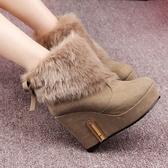 低筒雪靴-時尚潮流氣質蝴蝶結女高跟靴子2色73kg43【巴黎精品】