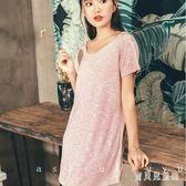 性感交叉漏背短袖睡裙 女夏圓領韓版家居服可外穿棉 BT4769『寶貝兒童裝』
