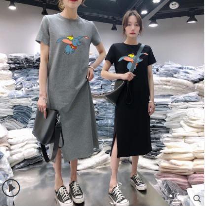 2020夏新款中長款T恤女開叉連身裙短袖休閒寬鬆過膝a字長裙新品上新
