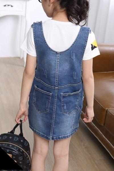 衣童趣♥韓版女童 時尚連身裙 休閒 後口袋 牛仔吊帶裙 個性百搭款吊帶連身裙