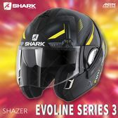 [中壢安信]法國SHARK EVOLINE SERIES 3 彩會 SHAZER 消光黑黃銀 可樂帽 全罩 可掀 安全帽