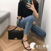 韓版2018新款鏤空帶中跟粗跟涼鞋女夏簡約套趾細帶時尚綁帶羅馬鞋-奇幻樂園