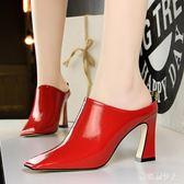大尺碼新品女鞋復古鴨嘴方頭高跟單鞋漆皮粗跟包頭拖鞋 DN16957【棉花糖伊人】