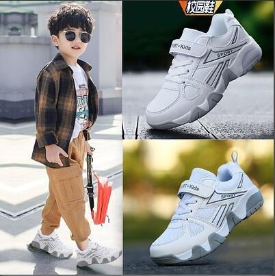 兒童男鞋 男童鞋子新款中大童小學生白色皮面防水百搭男孩兒童小白鞋【快速出貨八折鉅惠】