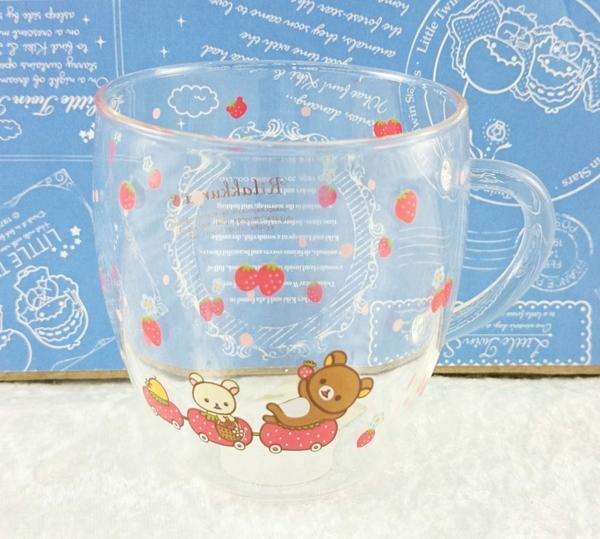【震撼精品百貨】Rilakkuma San-X 拉拉熊懶懶熊~San-X 透明玻璃杯-草莓#50281