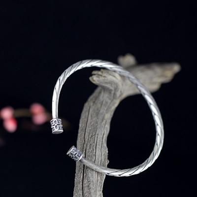 手環 925純銀-編織扭花開口細版生日情人節禮物女手鐲73na124[時尚巴黎]