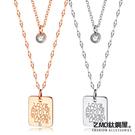 Z.MO鈦鋼屋 白鋼項鍊 鍍玫瑰金 鑲鑽雙層項鍊 甜美風格 簡約鎖骨鏈 單條價【AKS1588】