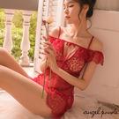 天使波堤【LD0206】雕花蕾絲綁帶挖胸...