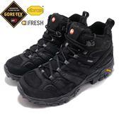 Merrell 戶外鞋 Moab 2 Smooth Mid GTX 黑 全黑 Vibram 大底 中筒 男鞋 健行 登山鞋【PUMP306】 ML46551