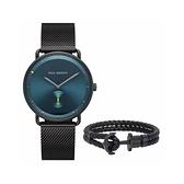 【Paul Hewitt】德國船錨湖水綠簡約時尚米蘭腕錶套組x船錨皮革手環/PH-PM-16(L~XL)