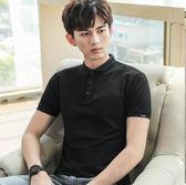 618好康鉅惠港風男士短袖T恤翻領純色男polo衫