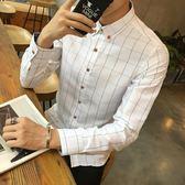 長袖襯衫 秋季青少年男士格子修身商務休閒男襯衣打底格紋襯衣 迪澳安娜