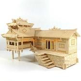 立体拼图木质拼装房子 DIY益智玩具3D木制仿真建筑模型手工木头屋【聚寶屋】