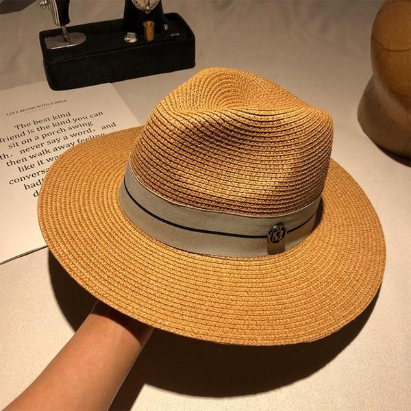 禮帽女春夏季海邊度假遮陽帽子戶外防曬英倫復古爵士帽男紳士草帽