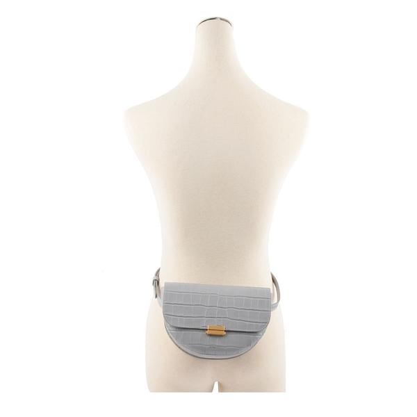 【Wandler】Wandler Anna壓鱷魚紋半月肩背包/腰包(灰色) SS19000009