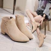 女鞋靴子秋冬季新款歐美尖頭粗跟低跟短靴磨砂側拉錬切爾西靴   時尚潮流