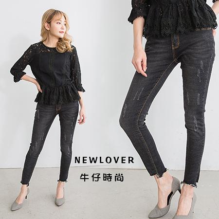 窄管褲NEWLOVER牛仔時尚【161-6116】褲管不收斜邊刷痕復古黑M-XL